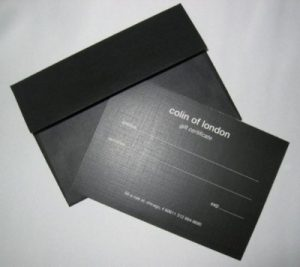 colin of london- gift certificate sample