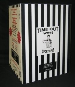 Time Out Resstaurant sample laminated menu-outside
